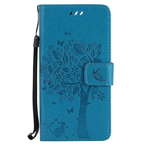 Nancen Wallet Case Tasche Hülle für Huawei Honor 8 (5,2 Zoll) Flip Schutzhülle Zubehör Lederhülle mit Silikon Back Cover PU Leder Handytasche im Bookstyle Stand Funktion , Schmetterling Schnalle Magnet (Katze Cheshire Brillen)