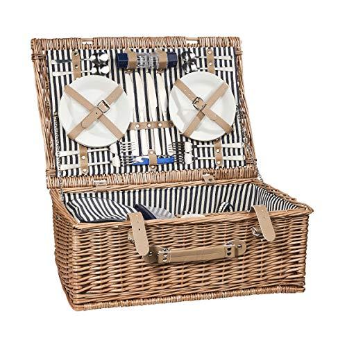 BUTLERS A Day in the Park Picknickkorb für 4 Personen groß - Rechteckiges Picknick-Koffer Set mit Geschirr und Besteck