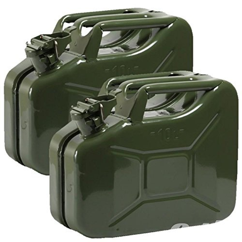 Oxid7 2X Benzinkanister Kraftstoffkanister Metall 10 Liter Olivgrün mit UN-Zulassung - TÜV Rheinland Zertifiziert - Bauart geprüft - für Benzin und Diesel