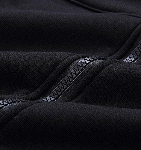 Automne Hiver Femme Sweat-shirts Sweats à Capuche Haut Chaude Sweats Hoodies Manches Longues Casual Zip Pull Sweat-shirts Veste Noir