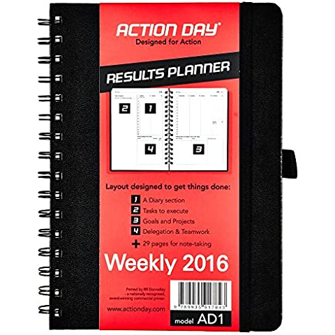Action Day Weekly Planner - Size 6x8 - Layout Designed to Get Things Done - (Daily Calendar (+) Day Planner (+) Weekly Diary (+) Monthly Planner (+) Goals Journal (+) Week-to-View (+) Task List) 6x8 - Yearly 2016 Black - 2016