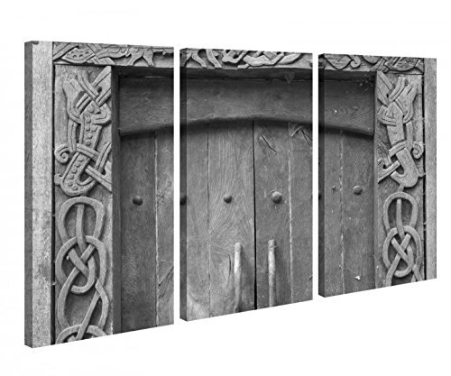 Lienzo 3tlg Puerta Viejo Vintage Piedra PASO RUINAS vikingo negro blanco Imágenes Foto en lienzo cuadros en lienzo 9x1300-120x80cm (3Stk 40 x 80cm)
