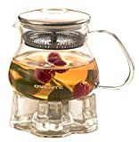 Ovente FGB27T Heat Tempered Glass Teapot with Warmer, 27 oz