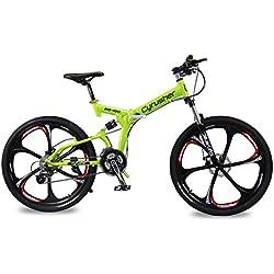 """Cyrusher RD100Shimano M310Altus Bicicleta de montaña plegable, suspensión completa, 24velocidades, 17 x 26"""", estructura de aluminio, frenos de disco, color verde"""