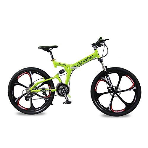 Cyrusher RD100 Mountainbike, Grün, Shimano M310Altus Vollfederung, 24Gänge, zusammenklappbar, 43,2x 66cm, Aluminiumrahmen, Scheibenbremsen
