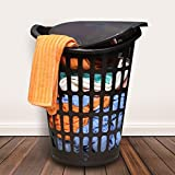 Kurtzy Laundry Basket Bin Organizer Container box for Clothes Storage Kitchen Bedroom Bathroom Brown 55 Ltrs