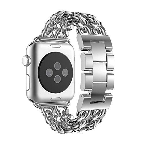 Für Apple Watch 3 Armband 38mm Edelstahl Silber,Armbänder iWatch 38mm Metall Frauen Elegant Ersatzband Apple Watch Series 2 Uhrenarmband Smartwatch Zubehör für Apple Watch Serie 3 Serie 1
