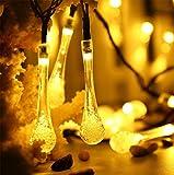OOFAY LIGHT® Solar Wasser Fallen Lassen Lichterkette 30Leds Wasserdichte Ambiente Beleuchtung Party-Garten-Dekorationen, Warmes Weiß (2Pack)