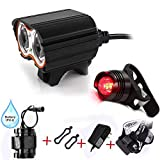 Best Bicycle Lights 5000 Lumens Rechargeables - Super Bright bike bicycle light 2x XML U2 Review