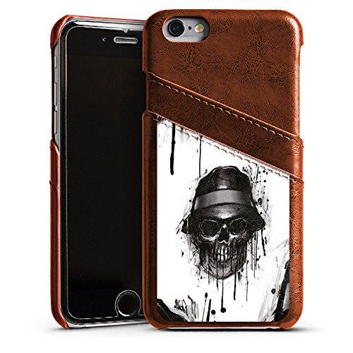 Apple iPhone 5 Housse Étui Silicone Coque Protection Tête de mort Chapeau Crâne Étui en cuir marron