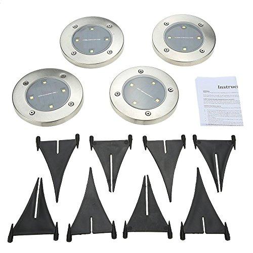 Tomshine 4pcs Solarbetriebene LED Bodeneinbauleuchte Außenleuchte Wasserdicht 4 LED 40LM Pfad Garten Landschaft Spike Beleuchtung für Hof Auffahrt Rasen Weiß / Warm Weiß - 10