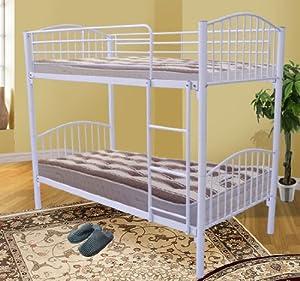 Homcom 3ft Single Metal Twin Bunk Bed Sleeper Children Kids Furniture Frame White