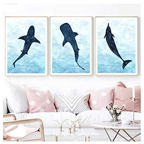 JuabcAquarell Shark Dolphin Whale Wandkunst Leinwand Malerei Nordic Poster Und Drucke Kinderzimmer Wandbilder Baby Girl Boy Room Decor 50X70Cmx3 Kein Rahmen