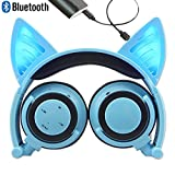 Bluetooth MIC Wiederaufladbare Wireless Headsets Katze Ohr faltbar einstellbare Flash Blue Light Kopfhörer für iPhone 7 / 6S / iPad, Android Handy, Macbook(Blau)