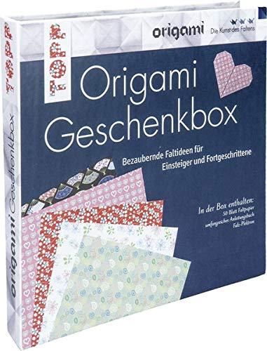 Origami Geschenkbox: Buch mit Faltanleitungen, 50 Faltblättern und einem Falz-Plektron (Buch plus Material)