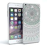 Apple iPhone 6 Plus / 6S Plus Schutzhülle Silikon Mandala Design I von EAZY CASE I Slimcover Henna, Handyhülle, TPU Hülle / Soft Case, Silikonhülle, Backcover, indische Sonne, transparent, Weiß/Türkis
