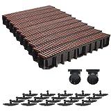 10m Entwässerungsrinne 148mm Einlaufkasten Stegrost Kunststoff inkl. Zubehör (braun)