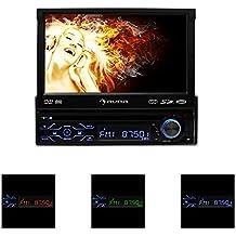 "auna MVD-180 autorradio con pantalla tactil 7"" abatible (DVD, Bluetooh, USB, SD, reproductor multimedia, panel desmontable, DIN simple, AUX frontal, FM, micrófono integrado)"