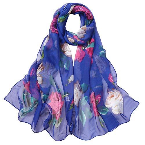 (GreatestPAK Rose Muster Schal dünne Seide Schal lange weiche Wrap Schal Simulation Seide Schal Schals,Blau)
