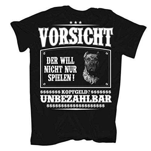Männer und Herren T-Shirt Dogo Canario (mit Rückendruck) Körperbetont schwarz