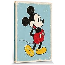 Mickey Mouse - Retro Cuadro, Lienzo Montado Sobre Bastidor (120 x 80cm)