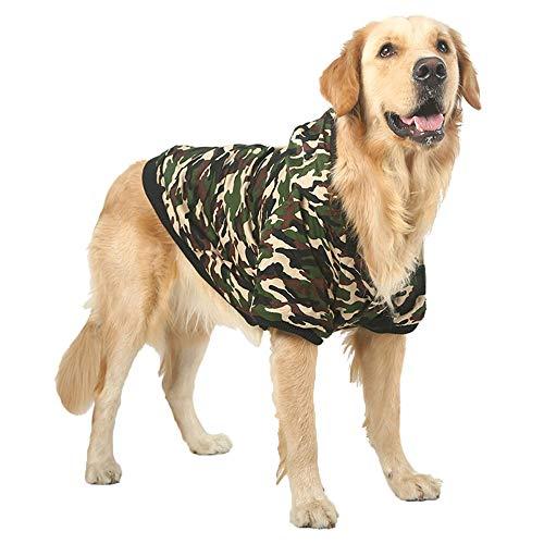 FLAdorepet Camouflage Haustier Winter Kapuzenjacke für große Hunde Fleece Warm Kapuzenmantel Kleidung für Labrador Bulldog Hund Kleidung, 7XL(Bust 31.4