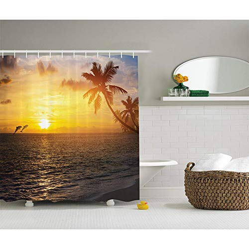 WZYMNYL Ozean und Delphine Dekor Duschvorhang Palmen Tropical Island Beach und Sun Print Polyester Stoff Badezimmer,91Wx198H cm