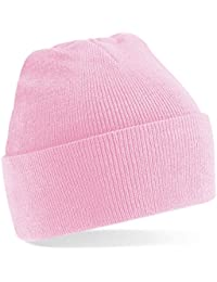 Beechfield Knitted hat with turn up in Pink