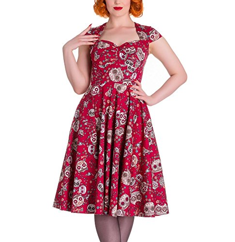 715e8889b HELL BUNNY Pinup 50s Dress SASHA Love Skull Sugar Red XXL 18