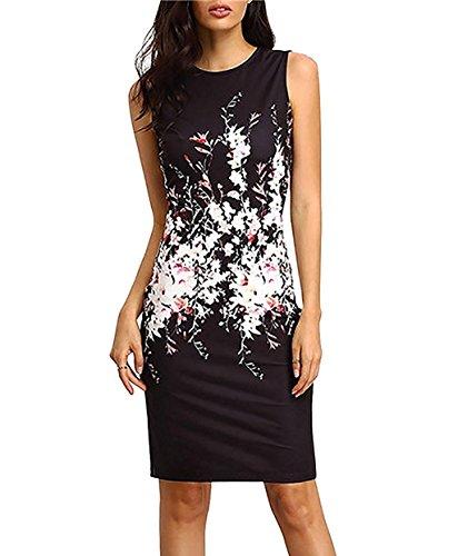 Minetom donna estate abito da sera corta eleganti rotondo collo matita vestiti slinky stampato floreale vestitini nero it 42