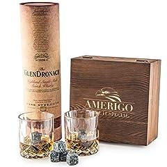 Idea Regalo - Amerigo Deluxe Whisky Stones Set di Regalo di 2 Bicchieri da Whiskey - Distinguiti Nella Scelta dei Regali - Set di 8 Granito Cubetti di Ghiaccio Riutilizzabili - Whisky Pietre Set EBOOK GRATIS