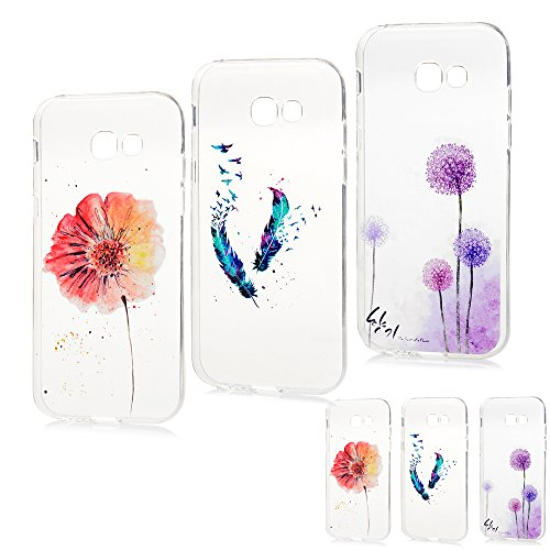 Galaxy A5 2017 Case [3 Pack] MAXFE.CO Protective Crystal Clear Soft Flexible TPU Silicone Case Cover Shockproof Gel Grip Cases for Samsung Galaxy A5 2017 Model, Flower+Fancy Feather+Purple Dandelion