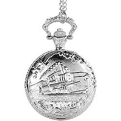 UNIQUEBELLA Pocket watch-Quartz-Men/ Women/ Children-Vintage-Alloy Chain/Necklace-A5 W114-Silver-Train