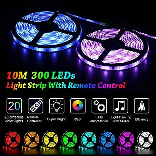 HXMSXROMIDA LED Streifen 10M, Flexibel RGB Selbstklebende Dimmable LED Stripes LED Lichtband SMD 5050 12V 32.8Ft LED Bänder Mit 44 Schlüsseln IR Fernbedienung(600LED),600LED