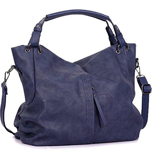 WISHESGEM Handtaschen Damen Taschen Hobo Umhängetaschen Schultertaschen Handtaschen PU-Leder Henkeltaschen Modernes 36cm(L)*16cm(W)*30cm(H) Blau