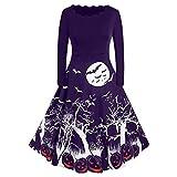 ZEELIY Halloween Robes Soirée Vintage Femme, Robes pin-up Imprimé Citrouille Manches Longues A - Ligne, Vêtements Deguisement Jupe Noël Femme Robe de Cocktail Violet XL