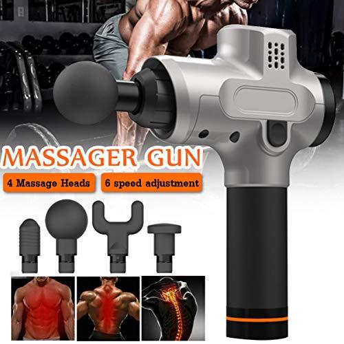 Masajeador profesional, masajeador inalámbrico e Hyperice Hypervolt, terapia de ejercicios profundos Fascia masajeador TheraGun Hypervolt (engranaje de 6 velocidades) 4 cabezal de masaje