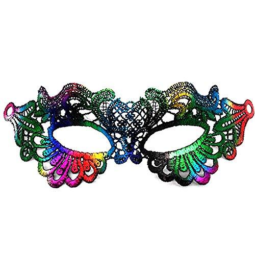 Vikenner Halloween Venezianische Faschingsmasken Frauen Spitze Maske mit Federn für Masquerade Ball Tanzabend Karneval Party Multicolor-Herz