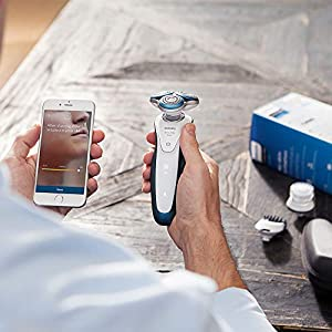 Philips Series 7000 Connected Shaver with Exfoliation Brush and Trimmer Attachment (UK 2-Pin Bathroom Plug) - S7921/51