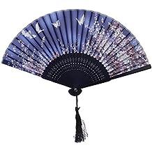 Magideal ELegante Abanico de Bambú Hecho de Mano de Color Negro y Azul Oscuro