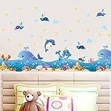 Hongrun Unterwasserwelt Wandaufkleber Aufkleber Blau Ozean Cartoon Nette Delphin Baby Pool Baseboard 137 * 43 cm