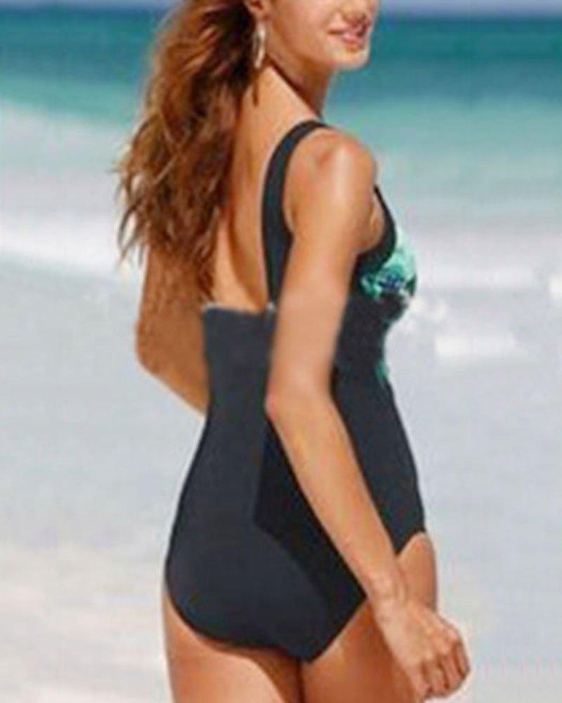 Femme Grande Taille Paon Impression Maillot de Bain 1 Pièce Sling Col V Backless Maillots Amincissant Bikini Monokini
