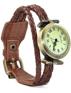 Gleader Vintage Retro Dame Frauen um Quarz weben Wickelband Armbanduhr wickeln - kaffee