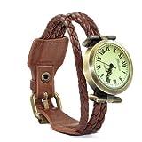 SODIAL(R) Vintage Retro Dame Frauen um Quarz weben Wickelband Armbanduhr wickeln - kaffee
