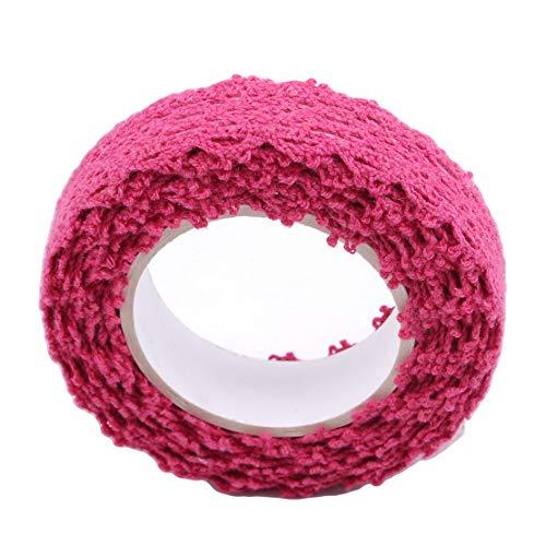 DFASPH Lace Tape Washi Klebeband Trim Ribbon Baumwollgewebe Tape Roll Tape dekorative Aufkleber Geschenk Masking Tape Crafts, C30-1 stieg rot, Größe