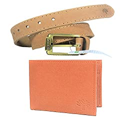 Combo Of Woodland Genuine Leather Brown Colour Belt For Men For Jeans Size 34 And Tan Wallet