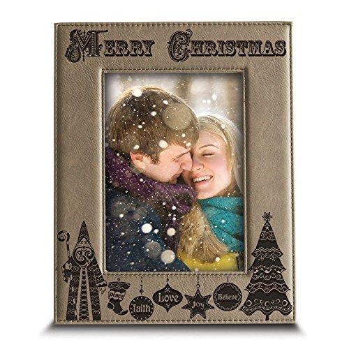 BELLA BUSTA Merry Christmas-Joy-Peace-Love-Faith-Believe- Gravur Leder Bilderrahmen-Weihnachten Geschenk für Familie, Freund 5