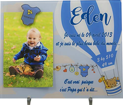 Cadre Photo Naissance - Cadeau de Naissance personnalisé avec le prénom du bébé - idéal pour la liste de naissance - pour fille ou garçon - Kd-iG