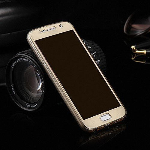 König-Shop Full TPU Case für Sony Xperia C4 Schutz Hülle Handy Gold Rahmen Cover 360