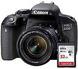Canon EOS 800D - Fotocamera Digitale Reflex + Obiettivo EF-S 18-55 mm f/4-5.6 IS STM + Ultra SDHC Scheda di Memoria 32 GB - Nero